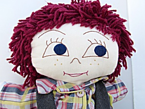 Boy Cloth Doll Embroidered Facial Features Yarn Hair 18