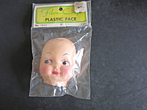 Vintage Plastic Face Fibre Craft Doll Head 3 Inch