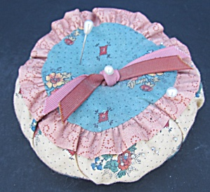 Vintage Hand Made Cloth Pin Cushion With Pins