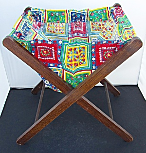 Vintage Folding Sewing Knitting Caddy Tote
