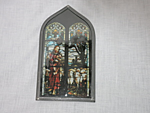 Antique Painted Stained Glass Jesus Sheep Church Window