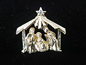 Manger Nativity Lapel Pin Gold Tone Unsigned