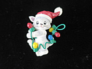 Christmas Grey Tabby Cat Kitten Pin With Lights Motif