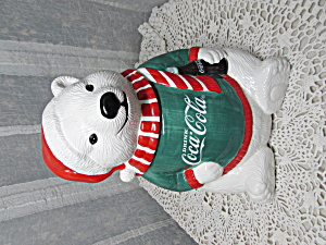 Coca Cola Polar Bear Green Sweater Cookie Jar 1995