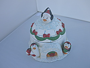 Figis Penguin Igloo Candy Dish Welcome