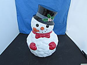 Snowman Cookie Jar Made In Taiwan Red Mittens