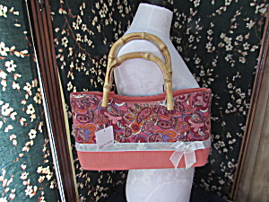Canvas Paisley Print Handbag Bamboo Handle