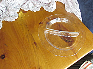 Art Glass Divided Plate Clear Beautiful 11 1/4 Inch Hei