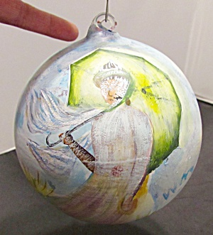 Hand Blown Hand Painted Portrait Bulb Japan Unsigned
