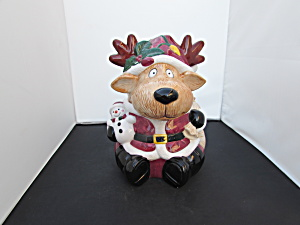 Jay Import Reindeer Cookie Jar With Snowman At His Side