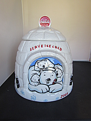 Coca Cola Polar Bear Igloo Cookie Jar