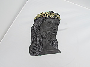 Jesus Chalkware Wall Plaque Gold Crown
