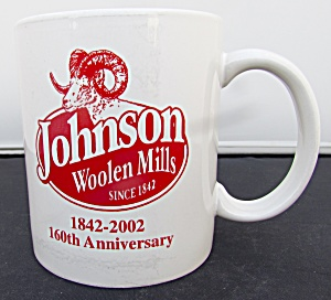 Johnson Woolen Mills Cup Mug 160th Anniversary