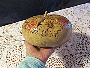 Scroll Cut Wood Burnt And Painted Gourd Box Dish