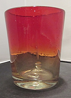Amberina Blown Glass Tumbler Red Yellow Clear