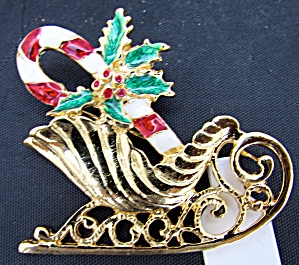 Enamel Painted Pin Sleigh Candy Candy Cane Holly