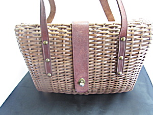 Vintage Basket Purse Pocketbook With Leather Straps