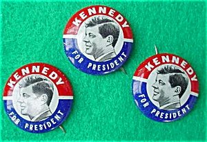 (3) Kennedy For President Campaign Pinbacks