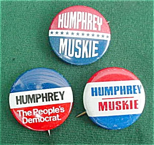 (3) Different Humphrey Presidential Pinbacks