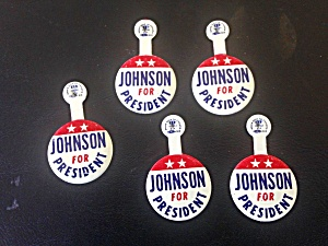 5 Johnson For President Tab Pins