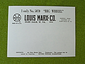 Marx Big Wheel Unused Shipping Label Forms