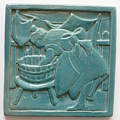Arts & Crafts Tile Woman Washing Clothes