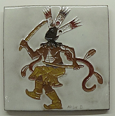 Apache Crown Dancer Tile By Gila Pottery & Daniel Nash