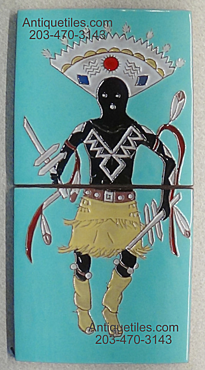 2 Tile Panel - Apache Crown Dancer - Gila Pottery