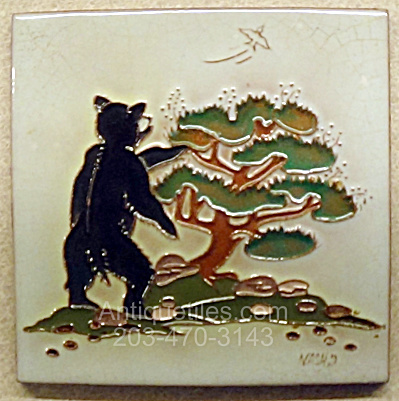 Daniel Nash Tile Of A Bear Standing At A Juniper Tree
