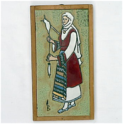 Scenic Signed Tile - Woman Spinning Yarn
