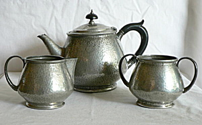 Tudric Hammered Pewter Tea Set