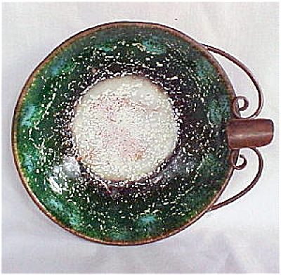 Nekrassoff Large Green & White Enameled Ashtray