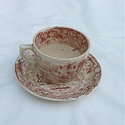 Childs Red White Cup & Saucer Rhone Pattern