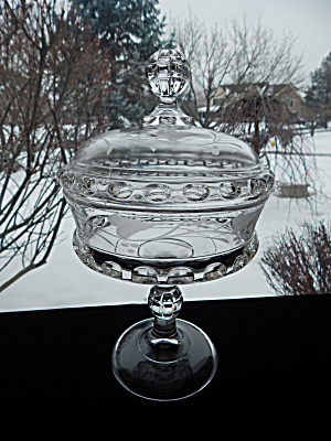 Antique Dakota Etched Covered Compote On High Standard