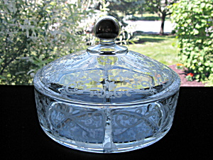 Cambridge Glass Chantilly Candy Box With Sterling Knob