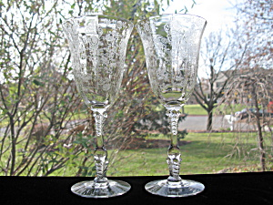 Cambridge Glass Rosepoint Water Goblets - Pair