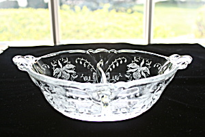 Heisey Orchid Etched 2 Pt. Oval Dressing Bowl