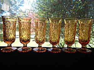 Mckee Amber Rock Crystal Parfait Stems- Set Of 6