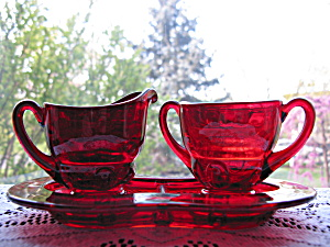 New Martinsville Ruby Moondrops Ind. Creamer & Sugar W/
