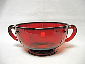 Paden City Ruby Crows Foot Cream Soup Bowl