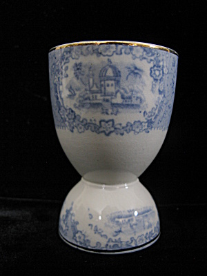 Antique Ridgway Oriental Blue & White Transfer Egg Cup
