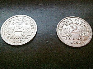 Pair Of Vichy France World War Ii Coins 2 Francs, 1943, 1944