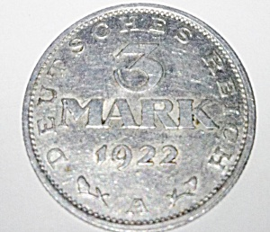1922 A 3 Mark Coin From Germany Weimar Republic.