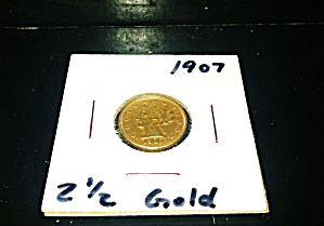 Gold 1907 2 1/2 Dollar Quarter Eagle.