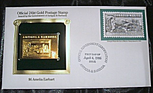 Gold Postage Stamp 24 Kt $6 Amelia Earhart. 1st Day Of Issue.
