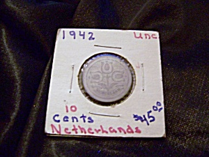 Netherlands 10 Cent Coin 1942 Unc.