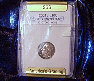 Roosevelt Dime 2001s Sgs Certified Pr70 Cameo