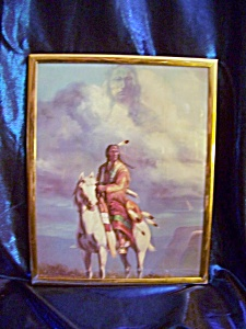 Framed Print Of Indian Rider With Phantom Indian In Clouds