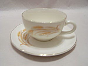 Homer Laughlin Golden Wheat Pattern Cup & Saucer