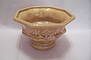 Haeger Yellow Pottery Pedestal Bowl